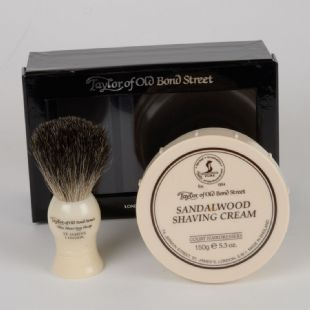 Taylor of Old Bond Street Badger Shaving brush and Sandalwood Shaving Cream